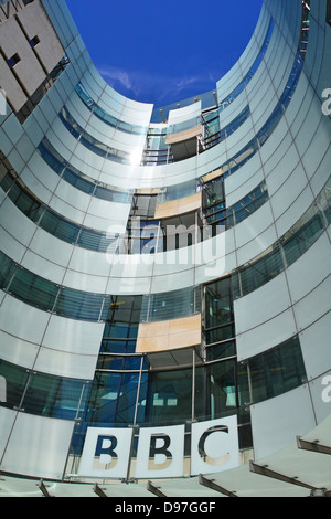 Broadcasting House at the BBC and main facade to the new extension - Stock Photo