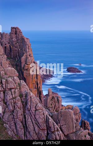 Towering granite cliffs at Gwennap Head near Land's End, Cornwall, England. Spring (May) 2012. - Stock Photo