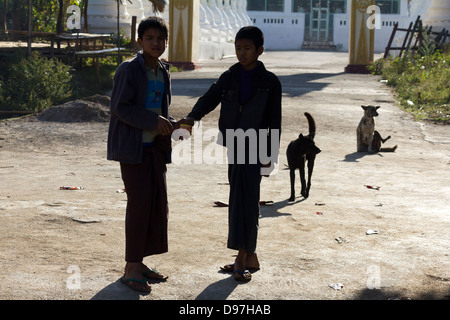 Boys and dogs in a small village by Lake Inle, Myanmar - Stock Photo