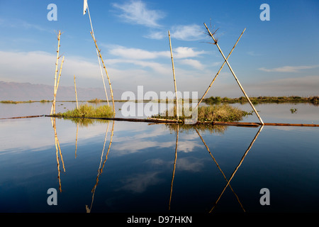 Reflections on Lake Inle, Myanmar 2 - Stock Photo