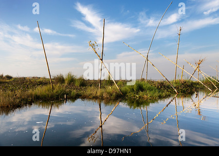 Reflections on Lake Inle, Myanmar 3 - Stock Photo