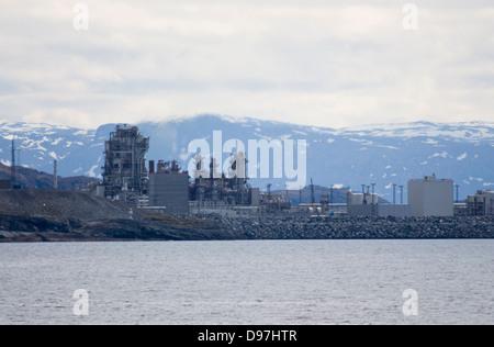 Petrochemical industry Melkøya Hammerfest Norway - Stock Photo
