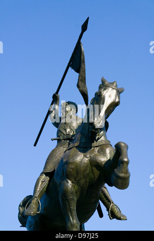 Equestrian Statue of El Cid by Anna Huntington in Seville, Andalusia, Spain - Stock Photo