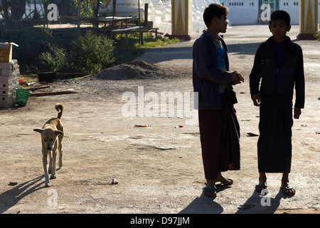 Two boys and a dog in a small village by Lake Inle, Myanmar - Stock Photo