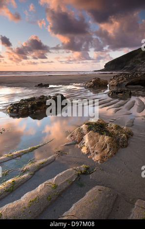 Low tide on the sandy Tregardock Beach, North Cornwall, England. Summer (July) 2012. - Stock Photo