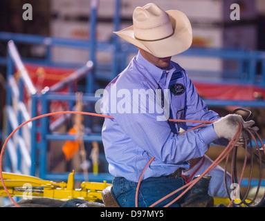 LAS VEGAS - MAY 17 : Cowboy Participant at the Helldorado Days Professional Rodeo in Las Vegas , USA on May 17 2013 - Stock Photo