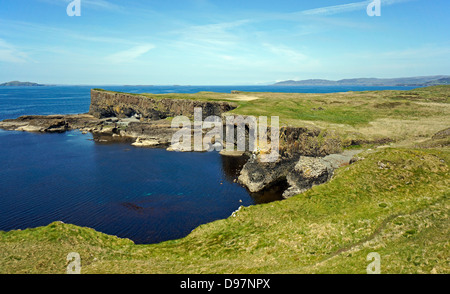 Western seaboard of the Isle of Staffa in Inner Hebrides Scotland - Stock Photo