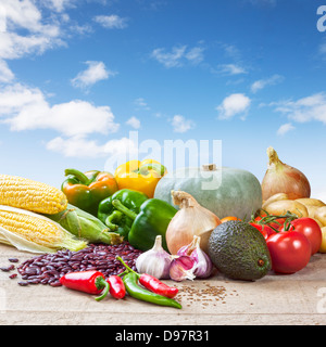 Mexican Food Ingredients - some of the ingredients for Mexican cooking, arranged on a rustic background. Front to - Stock Photo