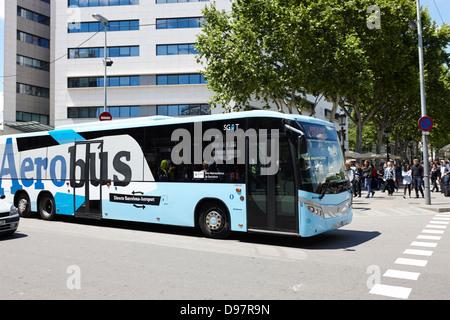 aerobus airport bus barcelona catalonia spain - Stock Photo