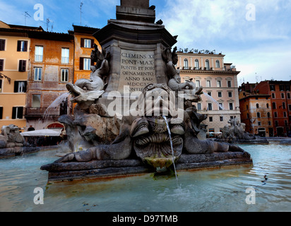 Late afternoon in the Pantheon,.Detail of fountain on Piazza della Rotonda in Rome, Italy . - Stock Photo