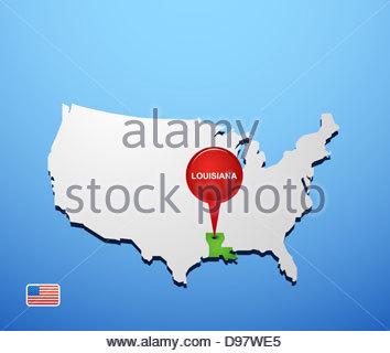 Louisiana On Usa Map Stock Photo