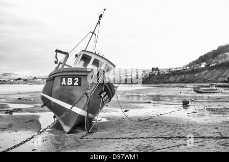 Fishing boat AB2 at New Quay Harbour West Wales ceredigion mono - Stock Photo
