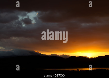Sunset, Robertson, Western Cape, South Africa, on the road to Franschhoek - Stock Photo