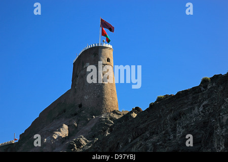 Military tower of the fort Mirani, Muscat, Oman - Stock Photo
