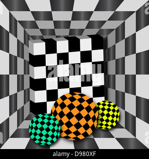 Checkerboard tunnel with 3D cube and three spheres of different color. Background for chessboard. - Stock Photo