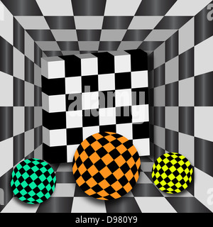 Checkerboard tunnel with 3D cube and three color spheres. Background for chessboard. - Stock Photo