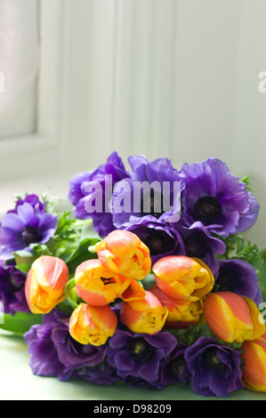 A bunch of orange and purple tulips on a green table by a window sill. - Stock Photo