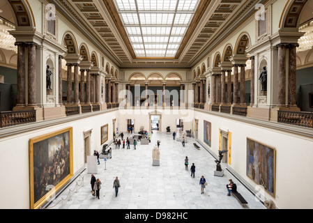 BRUSSELS, Belgium - Looking down at the main hall at the Royal Museums of Fine Arts in Belgium (in French, Musées - Stock Photo