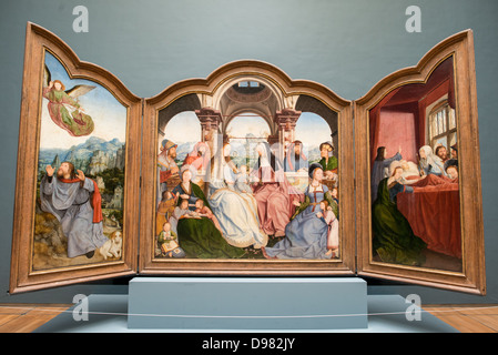BRUSSELS, Belgium - An early 16th century triptych by Quinten Metsys (165/66-1530) titled Triptyque de la Confrerie - Stock Photo