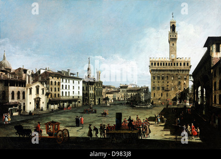 Bernardo Bellotto, called Canaletto, The Piazza della Signoria in Florence 1742 Oil on canvas. Museum of Fine Arts, - Stock Photo