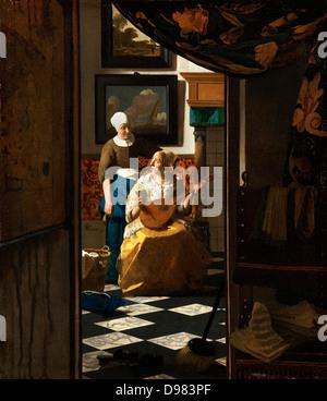 Johannes Vermeer, The Love Letter. Circa 1669. Oil on canvas. Rijksmuseum Amsterdam, Amsterdam. - Stock Photo