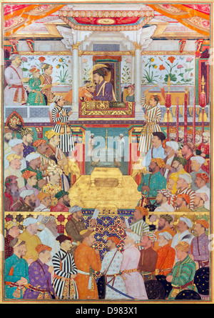 Bichitr, Padshahnama plate 10 : Shah-Jahan receives his three eldest sons and Asaf Khan during his accession ceremonies - Stock Photo