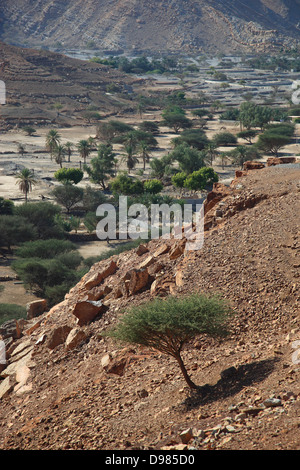 Scenery in the bay of Bukha, in the granny's niches enclave of Musandam, Oman - Stock Photo