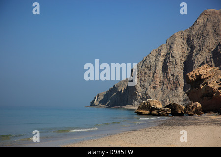 Coast in the Arabian gold, with Bukha, Bucha, in the granny's niches enclave of Musandam, Oman - Stock Photo