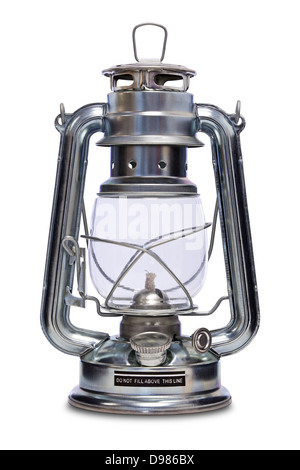 Paraffin lamp also commonly known as a Kerosene, Hurricane, Storm or Tilley lamp isolated on a white background - Stock Photo