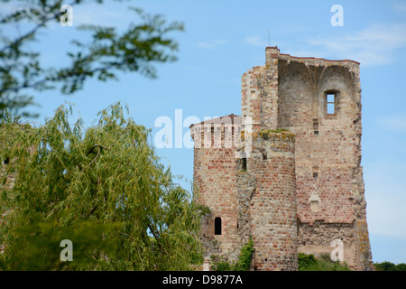 Village of Herisson, the castle, Bourbonnais, Allier, Auvergne, France, Europe - Stock Photo