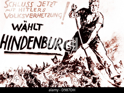 Paul von Hindenburg, German Chancellor, in 1932 at the age of 84 ran for re-election as the only candidate who could - Stock Photo