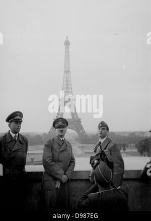Adolf Hitler in Paris, France, June 1940, the Eiffel tower in the background. Paris was occupied by German forces - Stock Photo