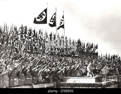 Nuremberg Rally addressed by Adolf Hitler in 1933. - Stock Photo
