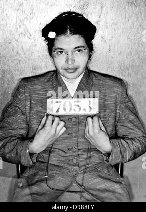 Rosa Louise McCauley Parks (1913-2005), American Civil Rights activist. Booking photo taken at the time of her arrest - Stock Photo