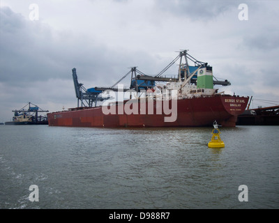 the Berge Stahl bulkcarrier in the port of Rotterdam, the Netherlands. - Stock Photo