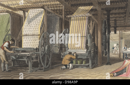 Calico printing machines powered by belt and shafting through cog wheels from a central energy source (steam or - Stock Photo