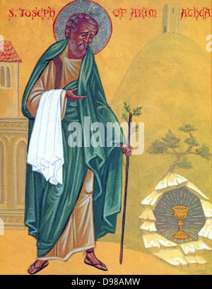 Icon of St. Joseph of Arimathea at Glastonbury, with the Holy Grail and the staff that flowered, by the hand of - Stock Photo