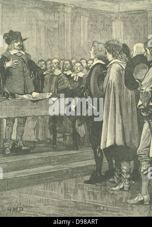 Oliver Cromwell (1599-1658) English statesman. Lord Protector (1653-1658). Cromwell refusing the crown, 1657. Engraving - Stock Photo
