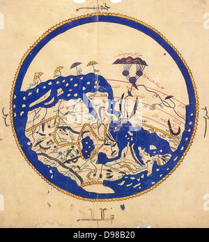 Copy made in Cairo in 1456 of the world map prepared by the Arab geographer Muhammad al-Idrisi (1100-1165) for Roger - Stock Photo