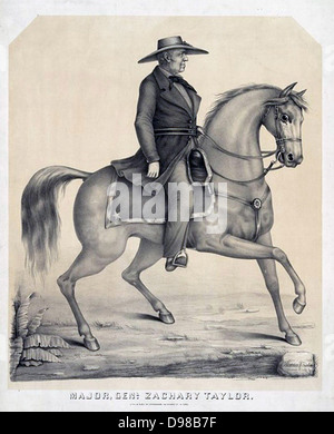 Zachary Taylor (1784-1850) American soldier and 12th President of the United States 1849-1850. Lithograph of General - Stock Photo