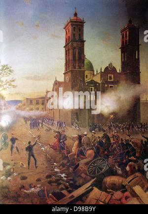 French invervention in Mexico: Battle of Puebla, 5 May 1862 (Battle of Cinco de Mayo). The French under General - Stock Photo