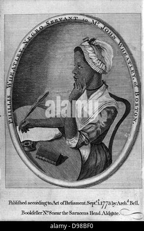 Phillis Wheatley (1753-1784) from frontispiece of her 'Poems on Various Subects ...'. Enslaved aged sevn, purchased - Stock Photo