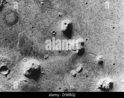 Viking orbiter image of the 'Face on Mars,' taken 25 July 1976 On 22 July 2006, the DLR-operated High Resolution - Stock Photo