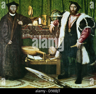 The Ambassadors', , (1533): Jean de Dinteville (1504-1555) and Georges de Selve (1508-1551), Bishop of Lavaur, ambassadors - Stock Photo