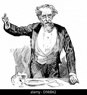 Charles Dickens (1812-1870) English novelist and journalist giving an after dinner speech. Engraving. - Stock Photo