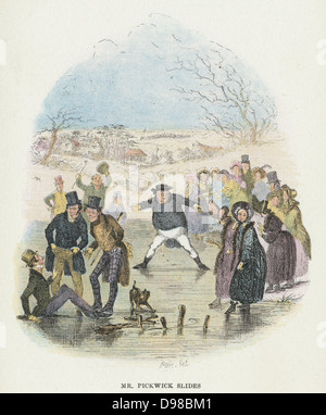 Mr Pickwick slides. Illustration by 'Phiz' (Hablot Knight Browne - 1815-1882) for Charles Dickens (1812-1870) 'Posthumous - Stock Photo