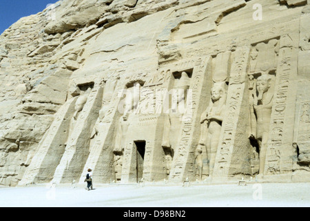 Temple of Hathor, Abu Simbel, Aswan, Egypt. Hathor was the wife of the Ancient Egyptian sun god. Smaller than the - Stock Photo