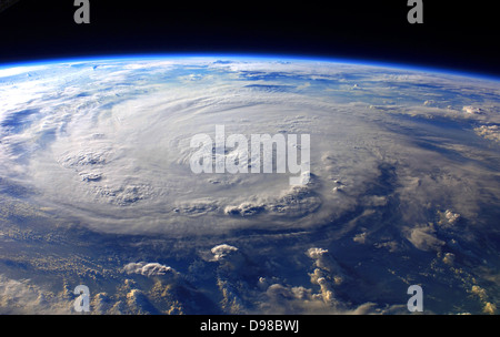 Hurricane Felix Over the Caribbean Sea, September 3, 2007 at 11:38:46.000 GMT As Seen From the International Space - Stock Photo