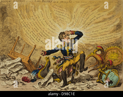 Maniac-raving's-or-Little Boney in a strong fit / Js. Gillray inv. & fect 1803. Creator James Gillray, 1756-1815, - Stock Photo