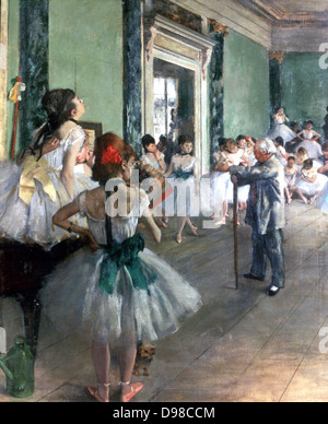 The Dance Class', 1874. Ballet dancers in tutus being tutored by the ballet master with his stick. Edgar Degas (1834 - Stock Photo